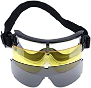 Safety Goggles Glasses -Military Tactical Airsoft Paintball 3 Interchangeable Multi Lens (Black/Yellow/Transpa