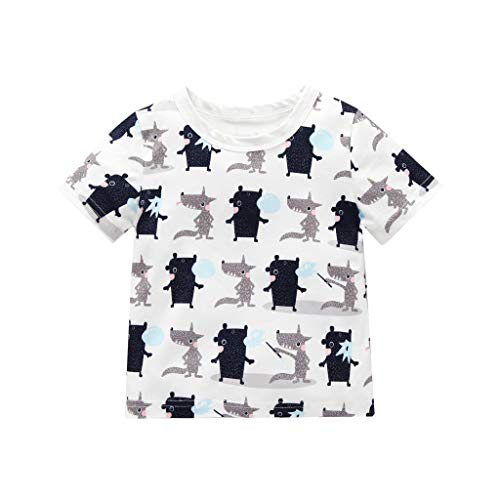❤️ Mealeaf ❤️ Toddler Baby Boy Girl Kid Short Sleeve Cartoon Printed Tops T-Shirt Clothes(White,100)