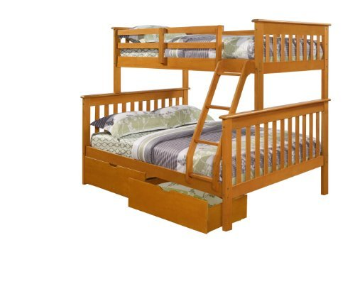 DONCO Twin over Full Mission Bunk Bed with Drawers-Fixed Ladder-Honey