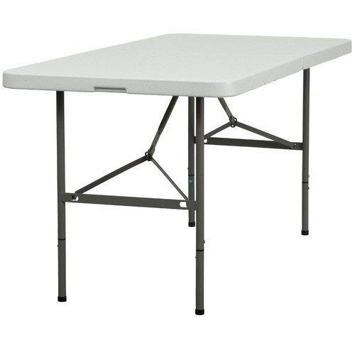 DuraGood 4 Foot Rectangular Plastic Folding Utility Table Lifetime Warranty - White