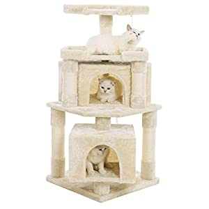 BEWISHOME Corner Cat Tree Condo with Sisal Scratching Posts Perches Houses, Cat Tower Furniture Kitty Activity Center…