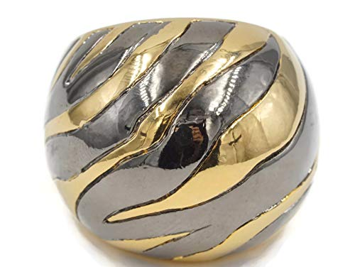 Glamour Rings Big Solid Dome Zebra Stripe Ring in Gold Tone with Shiny Black Rhodium Accent Size 5