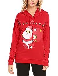 Women's Christmas Sweatshirts Long Sleeve Pullover Xmas Party Hoodies Top