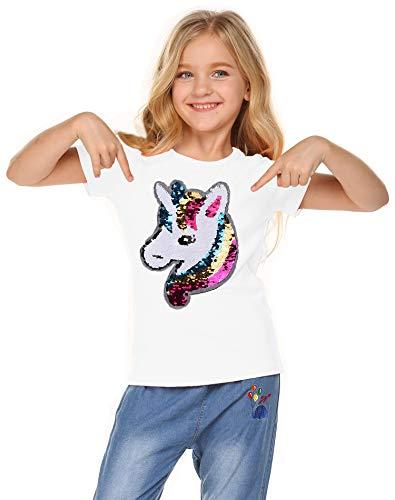 Girl's Short Sleeve Crewneck Tee Unicorn Flip Sequin T-Shirt Tops White