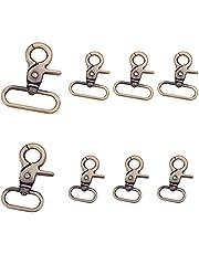 PandaHall 12 stuks 2 maten legering draaibare trigger karabijnhaken 360 ° draaibare trigger karabijnhaken voor sleutelhanger sleutelhangers sieraden maken, antiek brons / licht goud