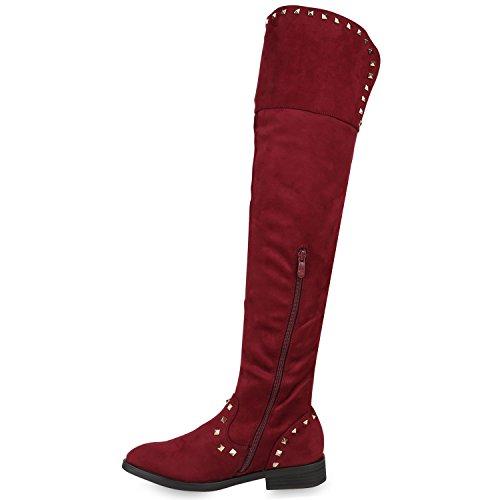 Stiefelparadies Damen Stiefel Overknees Langschaftstiefel Leicht Gefütterte Schuhe Flandell Dunkelrot Camargo