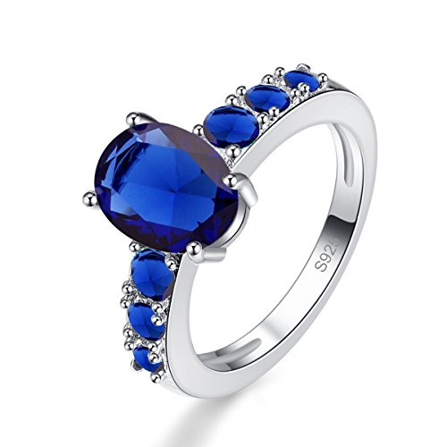 Psiroy 925 Sterling Silver Created Blue Sapphire Filled Promise Ring Size 7
