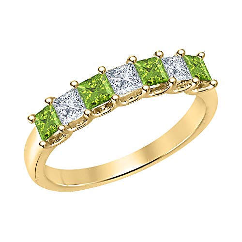 Princess Cut Peridot & Diamond Half Eternity 14k Yellow Gold .925 Sterling Silver Wedding 7-Stone Band Ring for Women