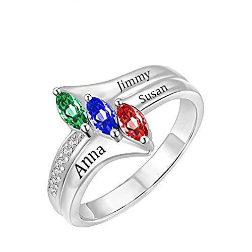a266XDKSJK Love's Promise Custom Engraved Birthstone Rings Sterling Sliver Wedding Engagement Rings Family Personalized Name Rings(silver 14) by a266XDKSJK