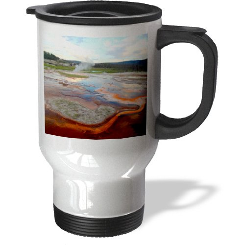 3dRose tm_17293_1 Biscuit Basin Yellowstone National Park, Travel Mug, 14-Ounce, Stainless Steel