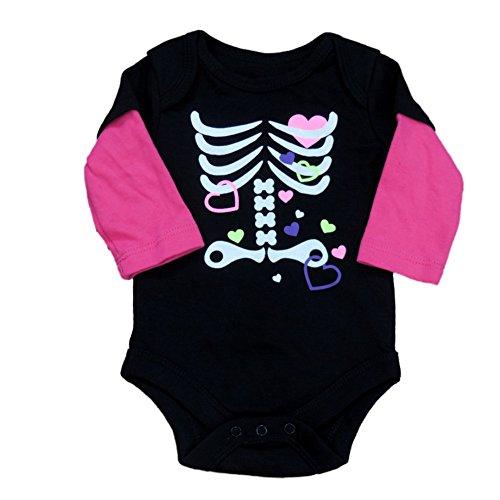 Fade Glory Infant Girl Black Pink Skeleton Creeper Halloween Bodysuit Shirt 12m