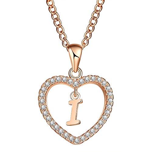 FineMe Initial Heart Necklace Letter A-Z Necklace Heart Love Necklace CZ Cubic Zirconia Pendant for Women ()