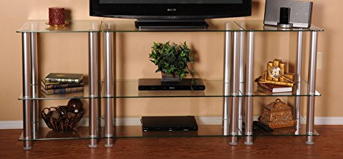RTA Home and Office TVM-0075 Extra Tall Glass and Aluminum LCD and Plasma TV Stand for a 75