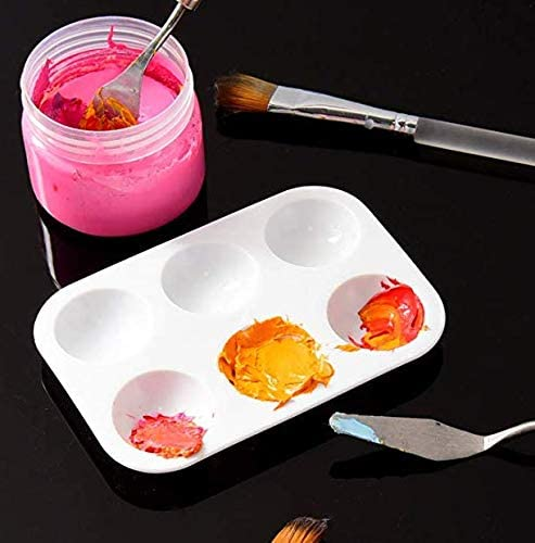 DNHCLL 6 PCS 6 Wells Rectangle Color Palette Art Supplies DIY Painting Gouache Acrylic Pigment Palette for DIY Craft Professional Art Painting