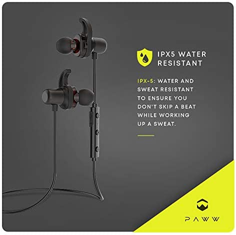 Paww DualSound 2 - Dual Driver - IPX5 Water Resistant - Sweatproof Neck Band - Bluetooth 5.0 in-Ear Earbuds - Rich Bass HiFi Stereo Sound - Sports Running & Workout with AptX LL