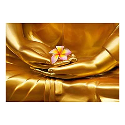 Fascinating Artisanship, Quality Artwork, Copper Statue of Buddha Holding a Pink Plumeria Flower Wall Mural
