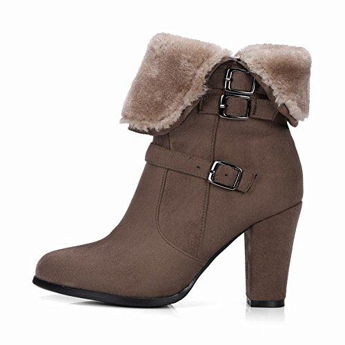 Mee Shoes Damen Blockabsatz Reißverschluss Stiefel Khaki