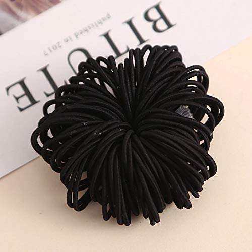 100pcs/lot 3cm 1.18inches Cute Girl Ponytail Hair Holder Hair Accessories Thin Elastic Rubber Band For Kids Colorful Hair Ties (Black) ()