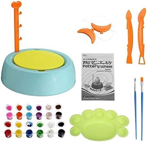 nobrand Keramik Handmake Elektrische Keramik Rad Maschinen Kinder DIY-Kunst-Werkzeug-Lehm Herstellung Spielzeug Handwerk Keramik (Color : Light Green)