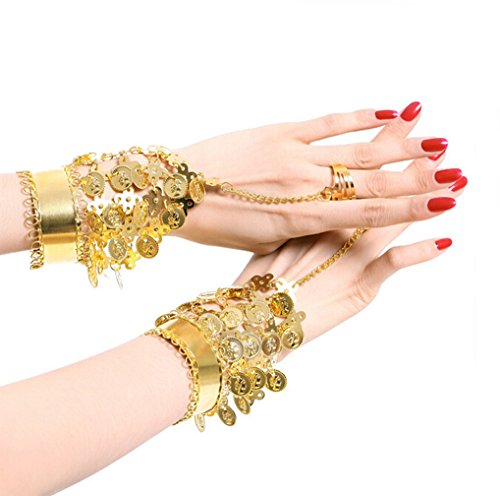 Flyusa 2 Pcs Belly Dance Gold Triangle Bracelet Gypsy Jewelry Coin Bracelet Wrist Ankle Bracelets Bangle Rings for Halloween Costume Present