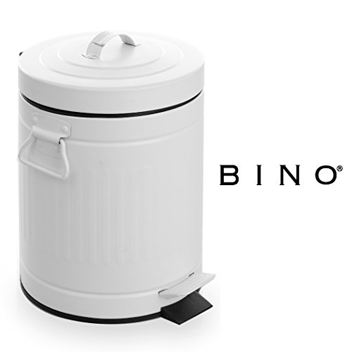 BINO Stainless Steel 1.3 Gallon / 5 Liter Round Oscar Step Trash Can, Matte White (White Cabinet Skinny)