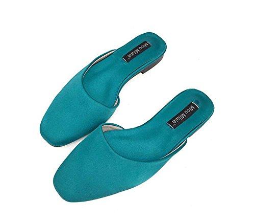 Chaussures Toe Couleur Plat 42 Dress Pantoufles Fermer OL Chaussures Taille Onfly Cool Pure Roma Eu Mules Pompe Chaussures Bleu 34 Talon Casual Chaussures Femmes Court qzzC6wY