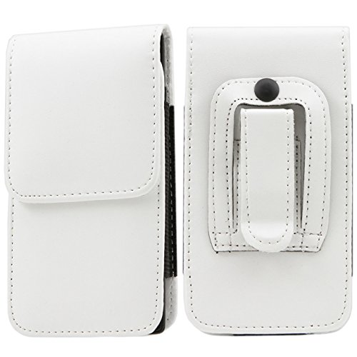 iTALKonline Plum Axe II White PREMIUM PU Leather Vertical Executive Side Pouch Case Cover Holster with Belt Loop Clip and Magnetic Closure