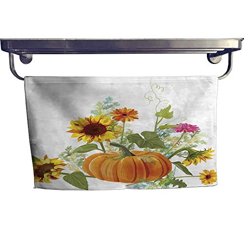 (Absorbent Towel Horizontal autumn border orange pumpkin yellow sunflowers gerbera daisy flower small green twigs of Asparagus on white background Digital draw illustration in waTowel W 8