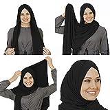 Veilwear Womens Lightweight Muslim Instant Cotton Black Hijab Head Scarfs for women