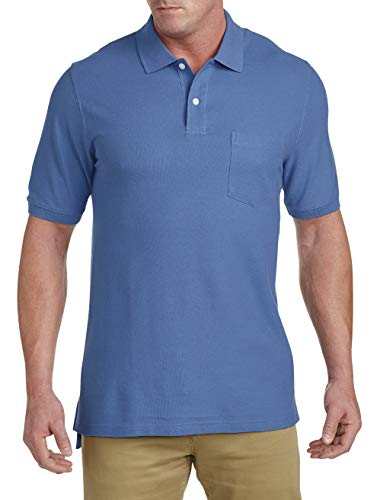 (Harbor Bay by DXL Big and Tall Pocket Pique Polo, New Dutch Blue XLT)