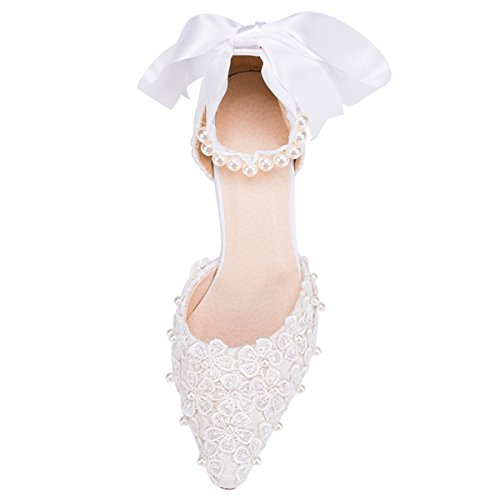 Fashion Evening Pumps Wedding Kevin ZMS1516 Women's Sunflowers White Lace Shoes Bridal Prom Party dWWTwqZO6