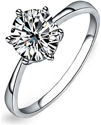 Maikun Womens Platinum-Plated-Cupronickel Classic 6 Prong Sparkling Cubic-Zirconia Solitaire Ring