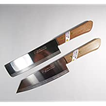 """Chef's Knife Cook Utility Knives Set 2 KIWI Brand 171,172 Cutlery Steak Wood Handle Kitchen Tool Sharp Blade 6.5"""" Stainless Steel"""