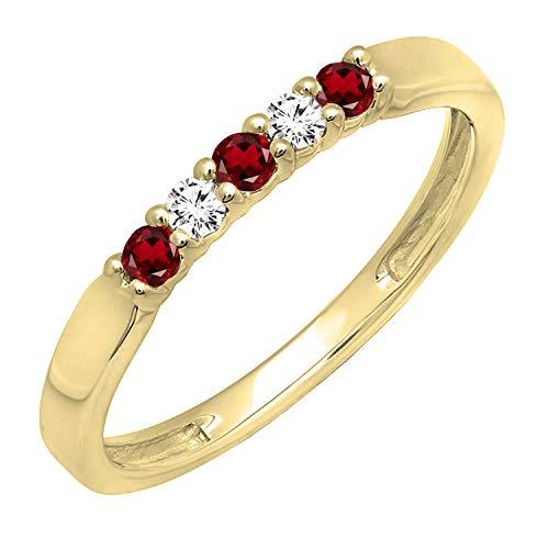 Dazzlingrock Collection 14K Round Garnet & White Diamond 5 Stone Ladies Anniversary Wedding Band, Yellow Gold, Size 7
