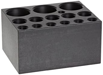 """Talboys 949107 Anodized Aluminum Combination Test Tube Single Heat Block, 14 Well, 3.75"""" Length x 3"""" Width x 2"""" Height, For 6mm, 12mm/13mm, 25mm"""