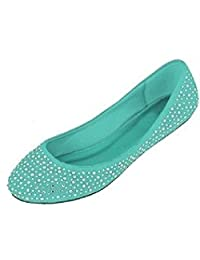 Shoes 18 Womens Faux Suede Rhinestone Ballerina Ballet Flats Shoes 5 Colors