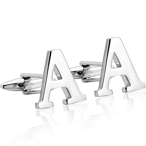 MOWOM Silver Tone 2PCS Rhodium Plated Cufflinks Initial Letter Capital Alphabet A Shirt Wedding (Tone Cufflinks Mens)
