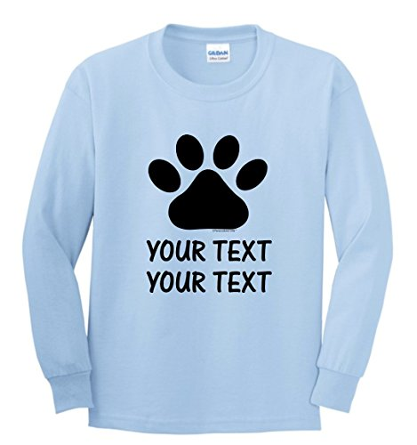 (Personalized Dog T-Shirt Personalized Dog or Cat Paw with Your Custom Text Youth Long Sleeve T-Shirt Medium LtBlu)