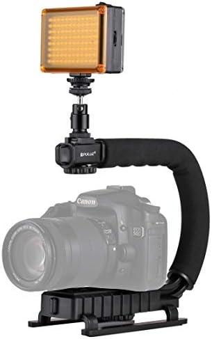 ビデオカメラ&ビデオアクセサリ U/CシェイプポータブルハンドヘルドDVブラケットスタビライザー コールドシューズ三脚ヘッド付き