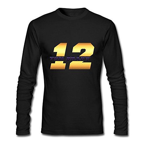 Men's Fashion Tom Brady 12 Logo Long-sleeve Tshit Black US Size S