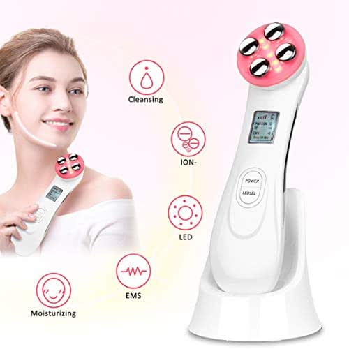 Skin Tightening Machine 5 in 1 Beauty Device EMS for Facial Lifting, Anti-Aging, Wrinkle Remover (white)