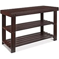 HOMFA Bamboo Shoe Bench 2 Tier Shoe Rack Organizer Entryway Shoe Storage(Retro color)