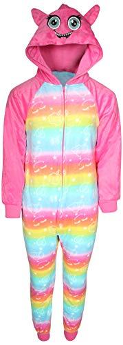 Sleep On It Girl\'s Micro Fleece Onesie Pajamas with Character Hood (Pink Cat Glow in Dark, 7/8)'