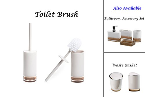 IMMANUEL Float Premium MS Acrylic Toilet Brush With Holder Canister | Two-tone | Brown White | Modern Home Decor-