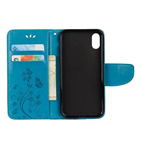 LEMORRY Apple iPhone X (iPhone 10 Ten) Hülle Tasche Ledertasche Flip Beutel Haut Slim Bumper Schutz Magnetisch Schließung SchutzHülle Weich Silikon Cover Schale für Apple iPhone X (iPhone 10 Ten), Glü Blau