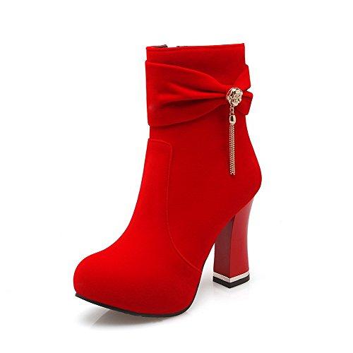 VogueZone009 Damen Hoher Absatz Rein Rund Zehe Mattglasbirne Reißverschluss Stiefel Rot