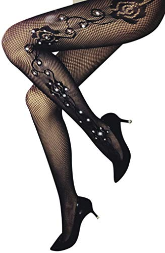 03a3f1c67175b TGD Women's Rhinestone Fishnet Tights Suspender Pantyhose Thigh High  Stockings