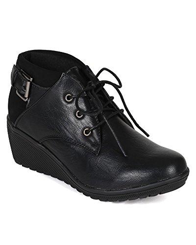 Black BI90 Wedge Buckle Oxford Women Pierre Lace Dumas Up Leatherette Bootie 1nqFvwR