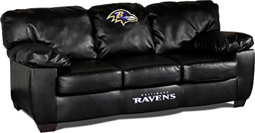 Imperial Officially Licensed NFL Furniture: Classic Leather Sofa/Couch,  Baltimore Ravens