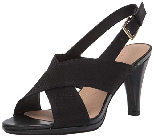 CLARKS Women's Dalia Lotus Heeled Sandal, Black Combi, 9 M - Heel Rhinestone Inch 3.5